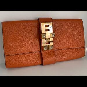 Hermès Orange Leather Clutch